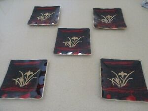 Five Vintage  Fused Art Glass Sushi Trays 12cm x12cm - Gold Iris on Red & Black