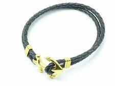 Nautical Anchor Bracelet Men's Black Genuine Leather Stainless Steel Mens Gold
