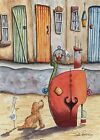 8x6 Contemporary Original Watercolour Painting Beach~House~Dog~Mouse~Snail~Boat