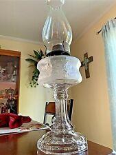 Stunning 1882 Antique Riverside Frosted Rose Blossom Kerosene Oil Lamp ~ L@K