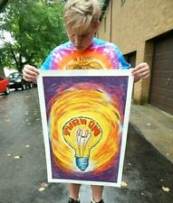 Vintage NOS Original 1970s Vagabond Turn On Poster Pin-up Psychedelic Light Bulb