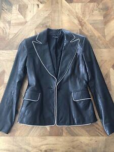 Designer Theory Buttery soft leather blazer jacket Sz Small black