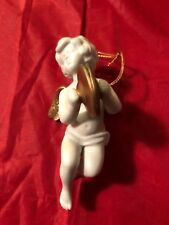 Franklin Mint Heralding Angels- porcelain- Christmas ornament Angel & Cymbals