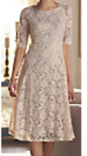 PLUS 24 Beige & Sequin GAILA LACE DRESS by MIDNIGHT VELVET cruise cocktail party