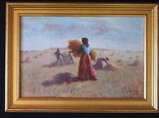HST tableau les glaneuses meule moisson 1913 signé 41x27 painting signed