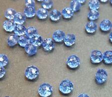 30 perles 6x4mm à facettes verre bleu ciel
