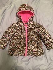Healthtex 3t Girls Hooded Winter Coat Leopard Print With Hearts Zippered Jacket