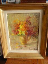 Tableau Original  Bouquet de fleurs signé dim avec cadre  54 cm x 45 cm
