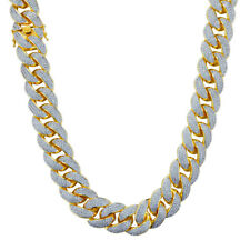 18K Gold Plated 3 Row Out ICED Lab Diamond Cuban Chain Link 18mm Miami Necklace