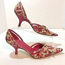 Delman Pump Floral Size 9M Pink Bow EU 41.5 Cut Out Kitten Heel Shoe Pointed Toe