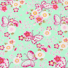 Cotton Fabric FQ Japanese Butterfly & Oriental Sakura Floral Dress Quilting VK54