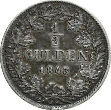 O7927 German States BADEN 1/2 Gulden Leopold 1843 Silver ->M offer