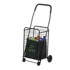 Black Grocery Basket Collapsible Portable Laundry Wheels Folding Shopping Cart+