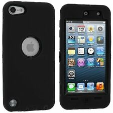 Hybrid Hard Silicone Case for iPod Touch 5th Gen - Black/Black