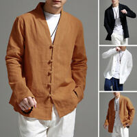 Men's Casual Shirt Linen Loose V Neck Chinese Retro Long Sleeve Tee Tops Blouse
