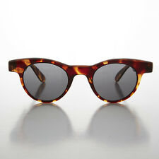 Small Round Horn Rim Preppy Vintage Sunglass Golden Brown/Gray- Sydney