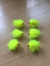 Set of 6 Fluorescent Yellow Daphnia blobs - trout flies fly fishing
