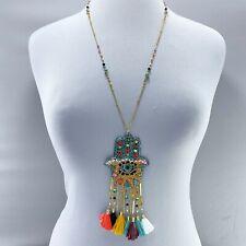 Multi Color Beaded Hamsa Hand Evil Eye Tassel Fringe Pendant Long Necklace