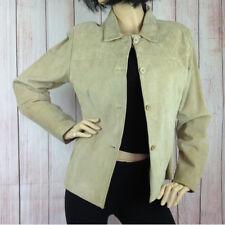 Womens Ben Sherman Real Suede Leather Jacket Beige UK 14 Medium M