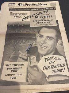 EXCEPTIONAL 1951 BASEBALL YOGI BERRA SIGNED 11/28/51 THE SPORTING NEWS PAPER~HOF