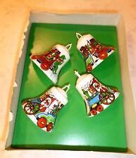4 Vintage Bradford Plastic Bell Santa's Express Ornaments PIXIE ELVES Train MCM