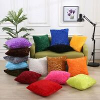 UK Square Pillowcase Plush Cusion Cover Solid Multicolors Living Room Bedroom