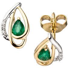 Pendientes Oro Amarillo 585 BICOLOR 6 DIAMANTES BRILLANTES 2 Esmeralda Verde