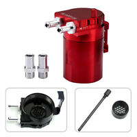 Red Racing Car Reservoir Baffle Oil Catch Can Tank Breather Filter Kit Billet