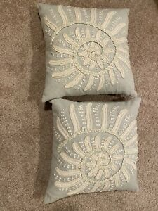 """TWO Blue Pottery Barn Embroidered Nautilus Shell Pillow COVERS ONLY 18x18"""""""