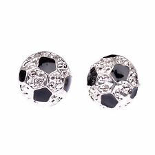 1 Pair Soccer Ball Football Stud Earrings Gift Sports Black&White 3D Hemisphere