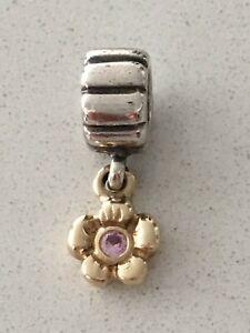 Authentic Pandora Silver & 14k Gold Daisy Flower Pink Sapphire Dangle 790372PSA