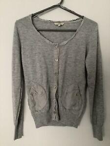 Fat Face Premium Size 12 Wool Cardigan With Silk Trim. Light Grey, Pockets