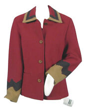NEW! Geiger Austria Boiled Wool Jacket (Coat)! 6 e 36 Red with Southwest Design