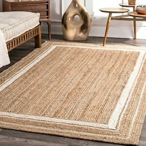 5x8 feet square indian braided natural jute rugs floor decor rugs bedside rugs