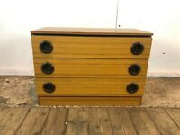 Vintage Stag 3 Drawer Chest of Drawers