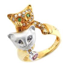 Auth AYAKO YOSHIDA Cat Motif Pink Tourmaline Green Garnet Ring 750 YG/WG US3.5