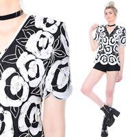 Vtg 80s Silk SEQUIN Beaded Black & White Scalloped Hem Art-Deco Trophy Dress Top