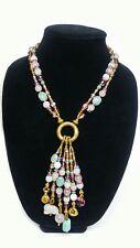 Hancrafted Crystal, Jade, Bronze, Bone, Trinket Charm Pendant Necklace w/ Rabbit