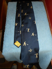 "Vintage Neck Tie EMBROIDERED BOWLING Bowler Pins Ball Yellow NAVY BLUE 58"" Long"