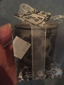Lot Of 12 Black White Damask Print Mini Candles Wedding Party