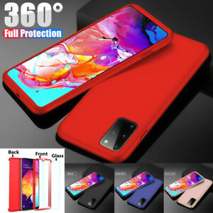 360 Shockproof Hybrid Case + Tempered Glass for Samsung A10 A20e A40 A50 A70