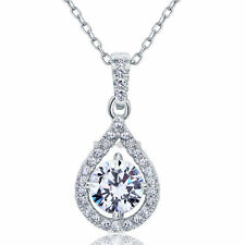 1 Carat Taille Ronde Diamant Synthétique 925 Sterling Silver Collier FN8035