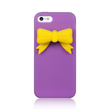 Apple iPhone 5 5S SE Rubber SILICONE Soft Gel Skin Case Cover Purple Yellow Bow