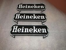 "Vintage Heineken Beer Signs(3) Display Advertising 7"" x 3"" black lot of 3"