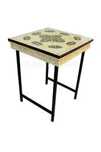 Indian Handicrafts Bone Inlay Hand Painted Side Table Bed Side End Table