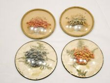 Lot Of 4 Vintage Flowers Under Plastic Convex Frame, Handcrafted, Wall Decor