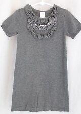 GYMBOREE Tres Fabulous Gray Knit Sweater Dress Size 5 Ruffle Pearls Rhinestones