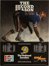 Oakland Invaders _USFL 2nd Season_ 1984 Football Schedule Poster Pepsi Promotion
