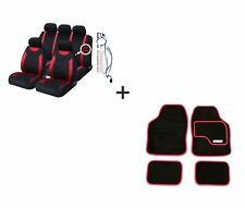 9 PCE Sports Carnaby Red / Black CAR Seat Covers + Matching Mat Set For All Fiat
