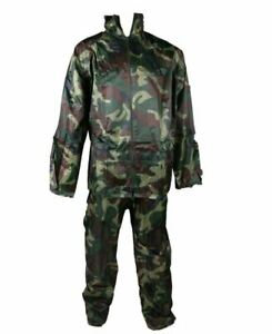 Military Style Rain Suit, Size 2XL, Jacket with Zip Front Closure Shooting Fish